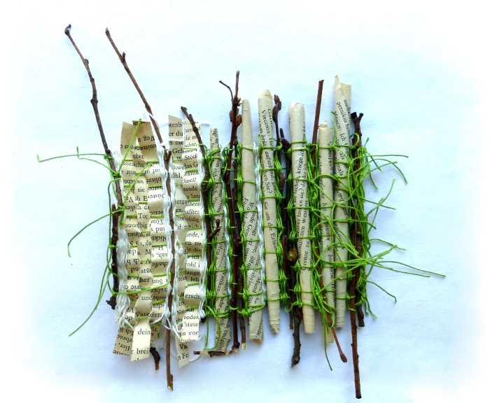 woven story with twigs by Ines Seidel