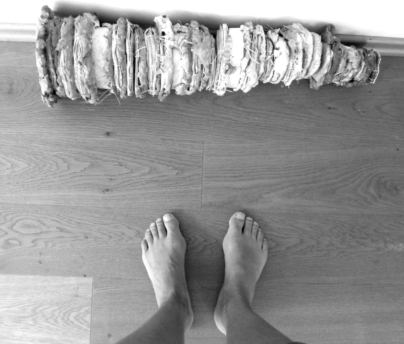 old stories, rolled aside (with naked feet). Ines Seidel