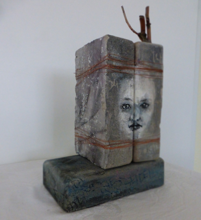 identity. concrete, paint, plant parts, wire and other. Ines Seidel