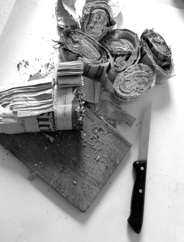 altering the news, with kitchen knife. Ines Seidel