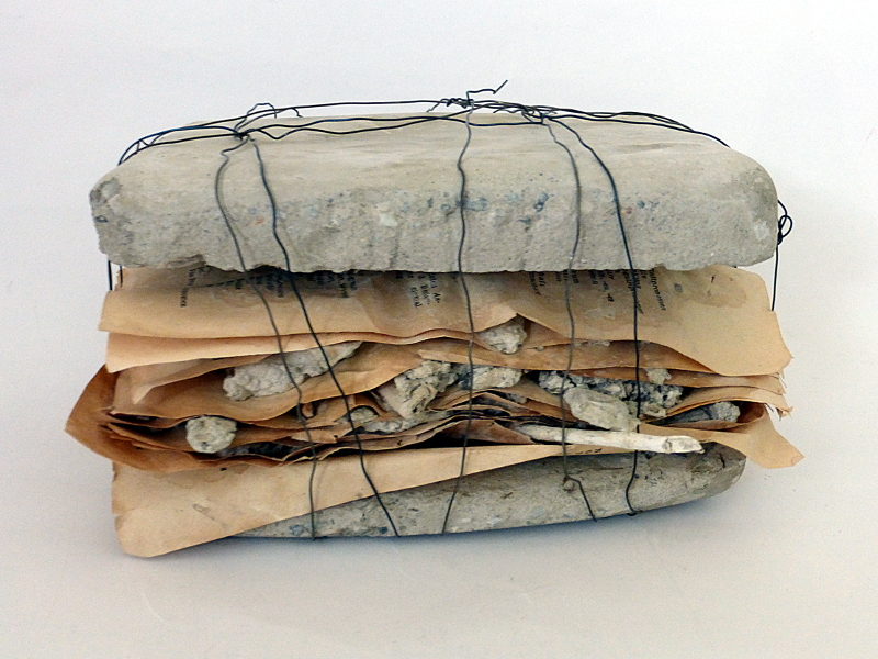 shape of a story. book pages, concrete, plant parts, wire. Ines Seidel.